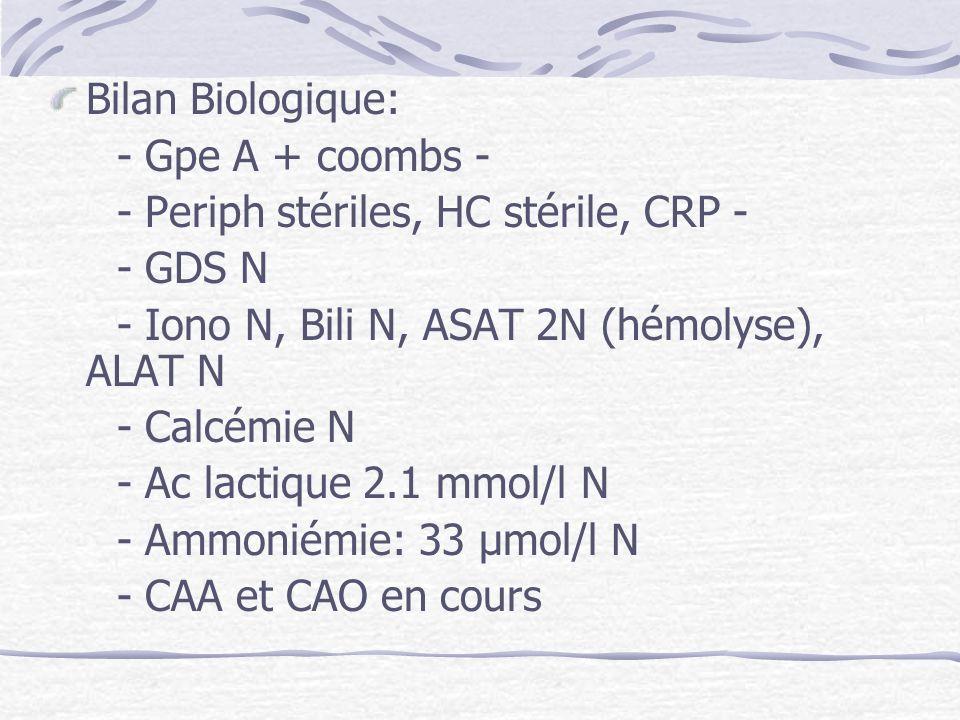 Bilan Biologique: - Gpe A + coombs - - Periph stériles, HC stérile, CRP - - GDS N - Iono N, Bili N, ASAT 2N (hémolyse), ALAT N - Calcémie N - Ac lacti