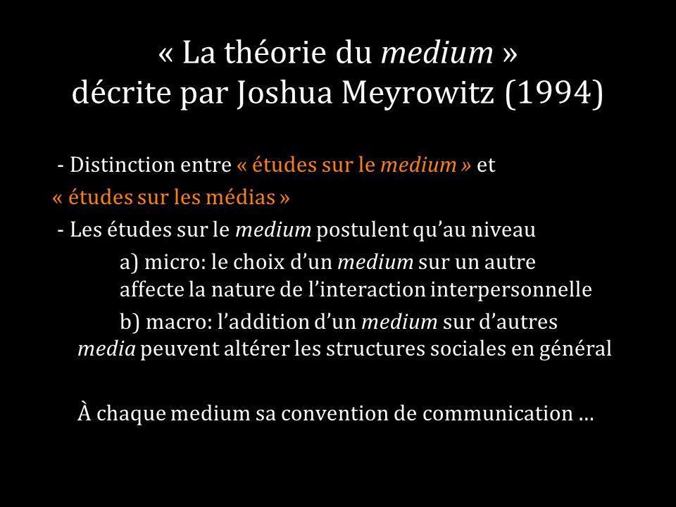 « La théorie du medium » décrite par Joshua Meyrowitz (1994) - Distinction entre « études sur le medium » et « études sur les médias » - Les études su