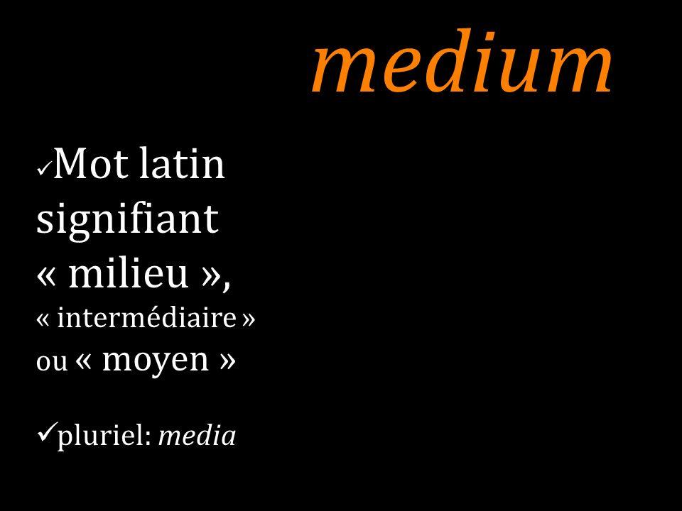 médium Accentué en vieux français où il apparaît au milieu du XVI e siècle, il gardera le sens quil avait en latin (« milieu, intermédiaire ») jusquau XIX e siècle.