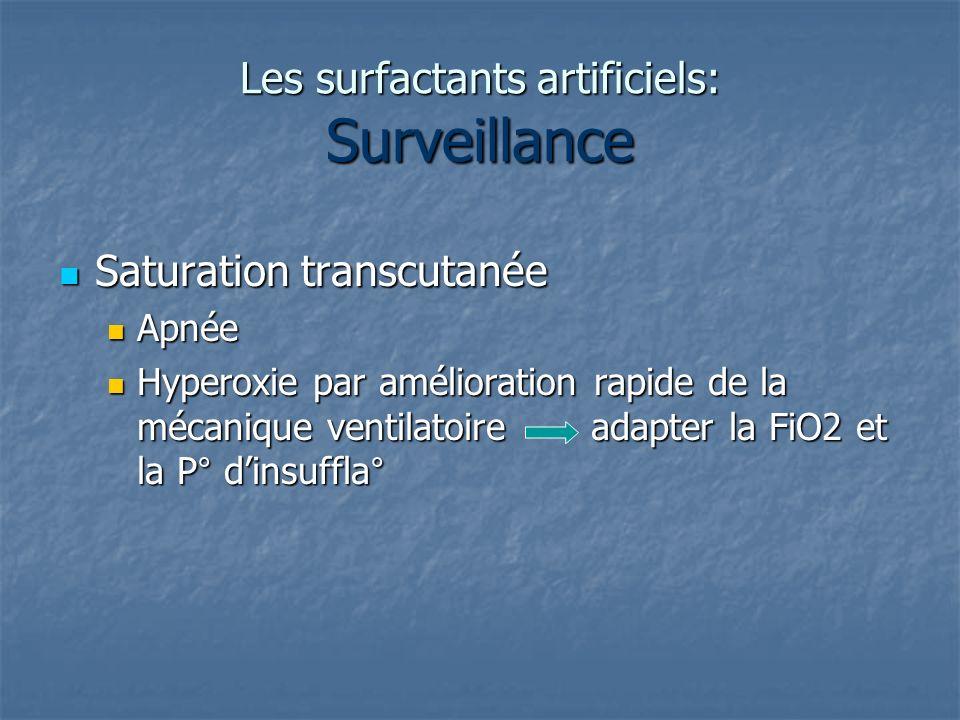 Les surfactants artificiels: Surveillance Saturation transcutanée Saturation transcutanée Apnée Apnée Hyperoxie par amélioration rapide de la mécaniqu