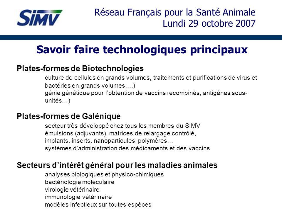 Savoir faire technologiques principaux Plates-formes de Biotechnologies culture de cellules en grands volumes, traitements et purifications de virus e