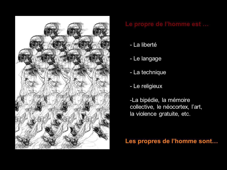 - La liberté - Le langage - La technique - Le religieux -La bipédie, la mémoire collective, le néocortex, lart, la violence gratuite, etc. Le propre d