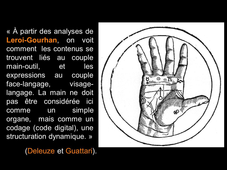 « À partir des analyses de Leroi-Gourhan, on voit comment les contenus se trouvent liés au couple main-outil, et les expressions au couple face-langag