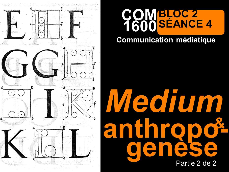 1600 Communication médiatique COM BLOC 2 SÉANCE 4 anthropo- Partie 2 de 2 & Medium genèse