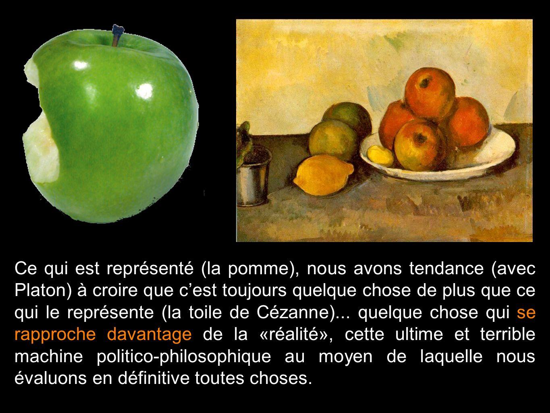 Ce qui est représenté (la pomme), nous avons tendance (avec Platon) à croire que cest toujours quelque chose de plus que ce qui le représente (la toil