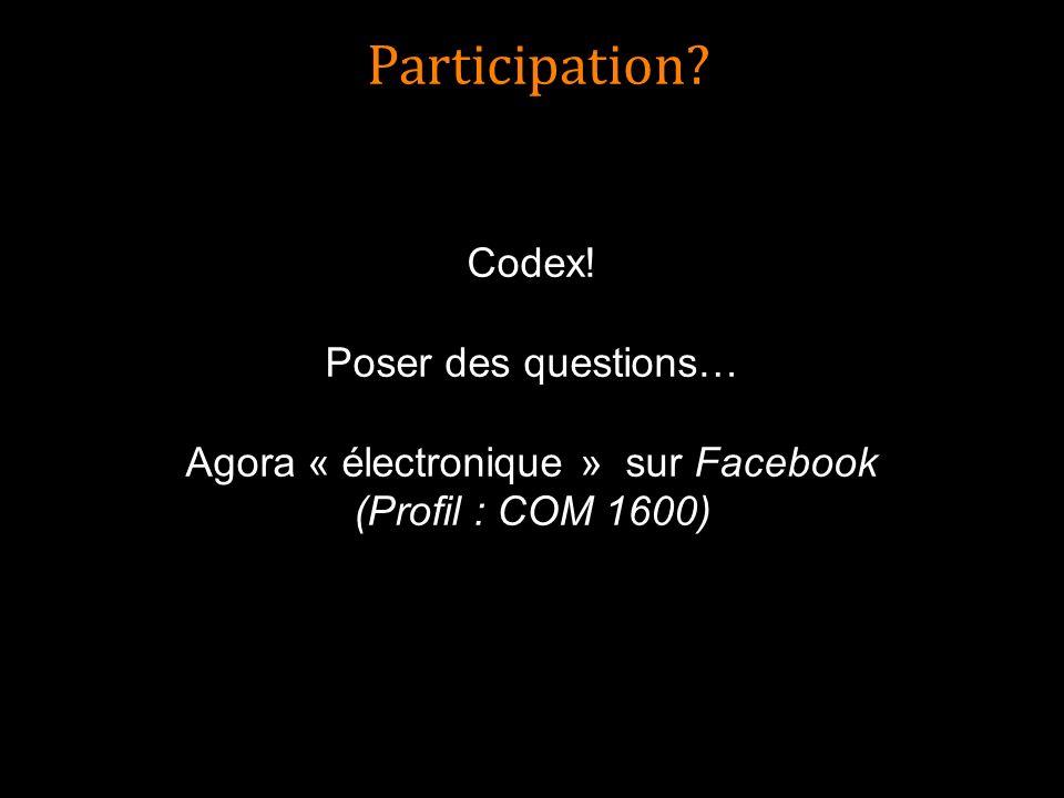 Participation? Codex! Poser des questions… Agora « électronique » sur Facebook (Profil : COM 1600)