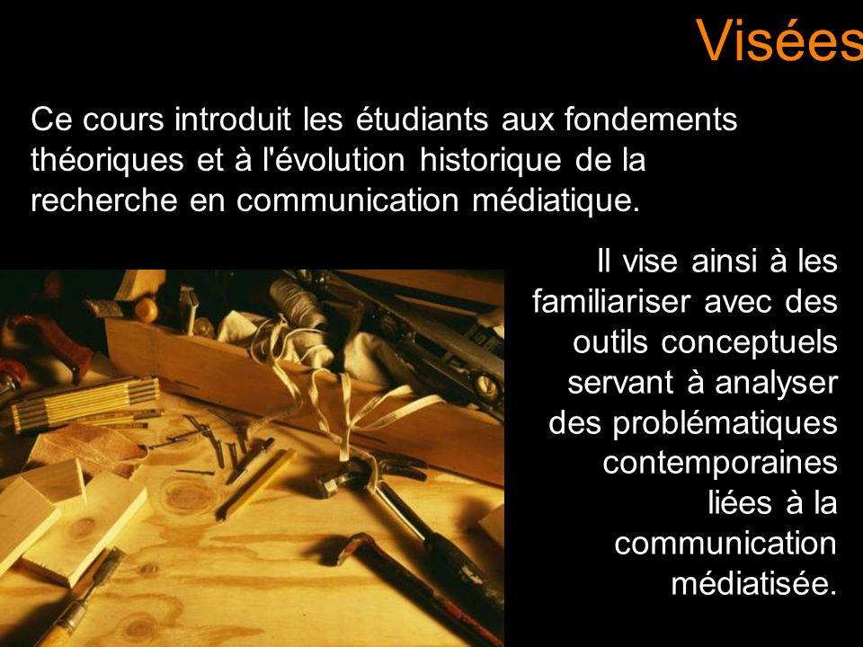 Ce cours introduit les étudiants aux fondements théoriques et à l'évolution historique de la recherche en communication médiatique. Visées Il vise ain