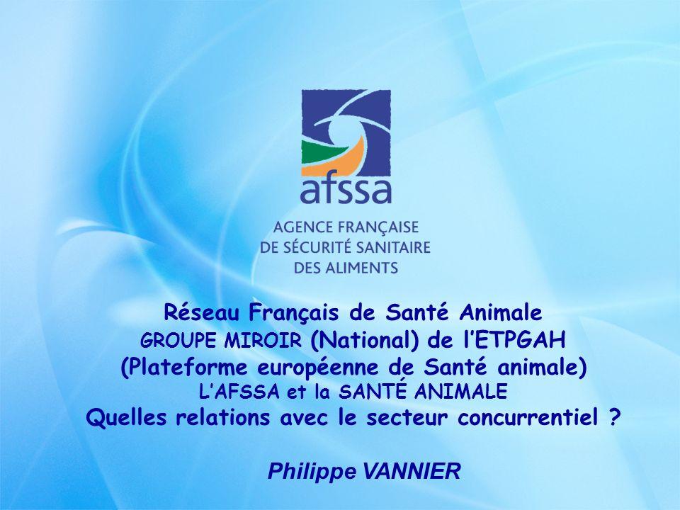 Réseau Français de Santé Animale GROUPE MIROIR (National) de lETPGAH (Plateforme européenne de Santé animale) LAFSSA et la SANTÉ ANIMALE Quelles relat