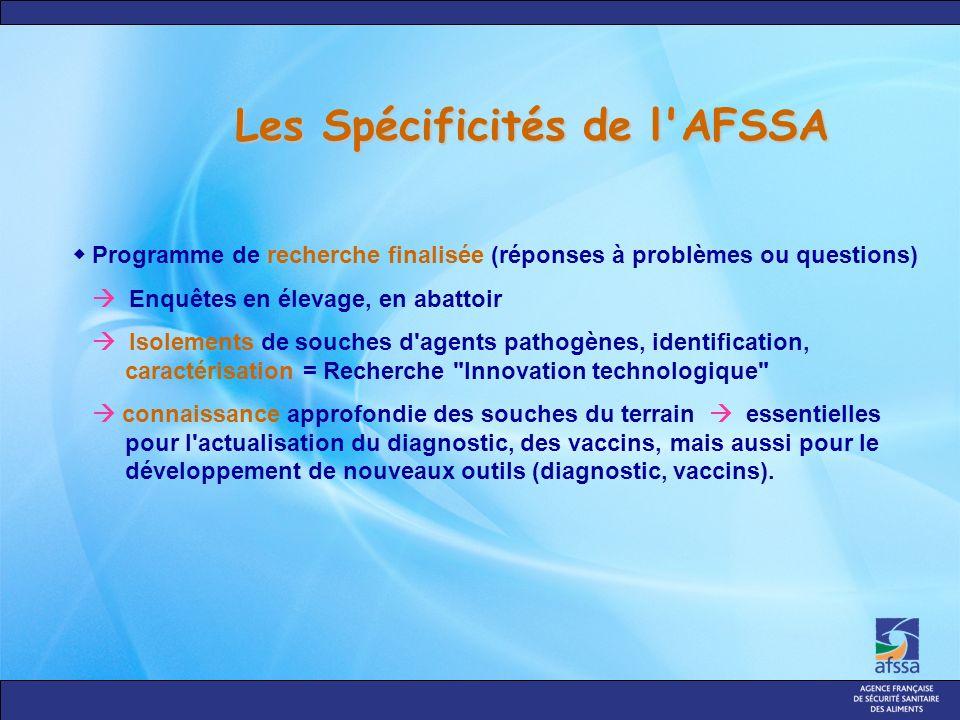 Les Spécificités de l'AFSSA Programme de recherche finalisée (réponses à problèmes ou questions) Enquêtes en élevage, en abattoir Isolements de souche