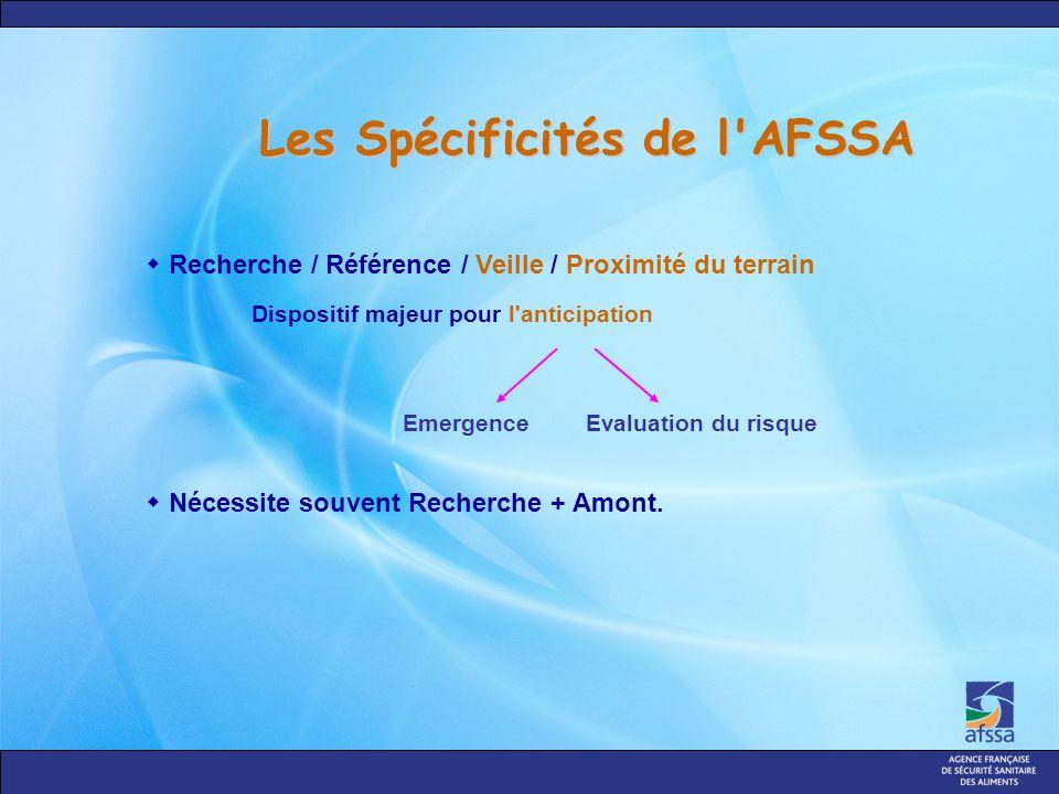 Les Spécificités de l AFSSA Recherche / Référence / Veille / Proximité du terrain Dispositif majeur pour l anticipation Nécessite souvent Recherche + Amont.