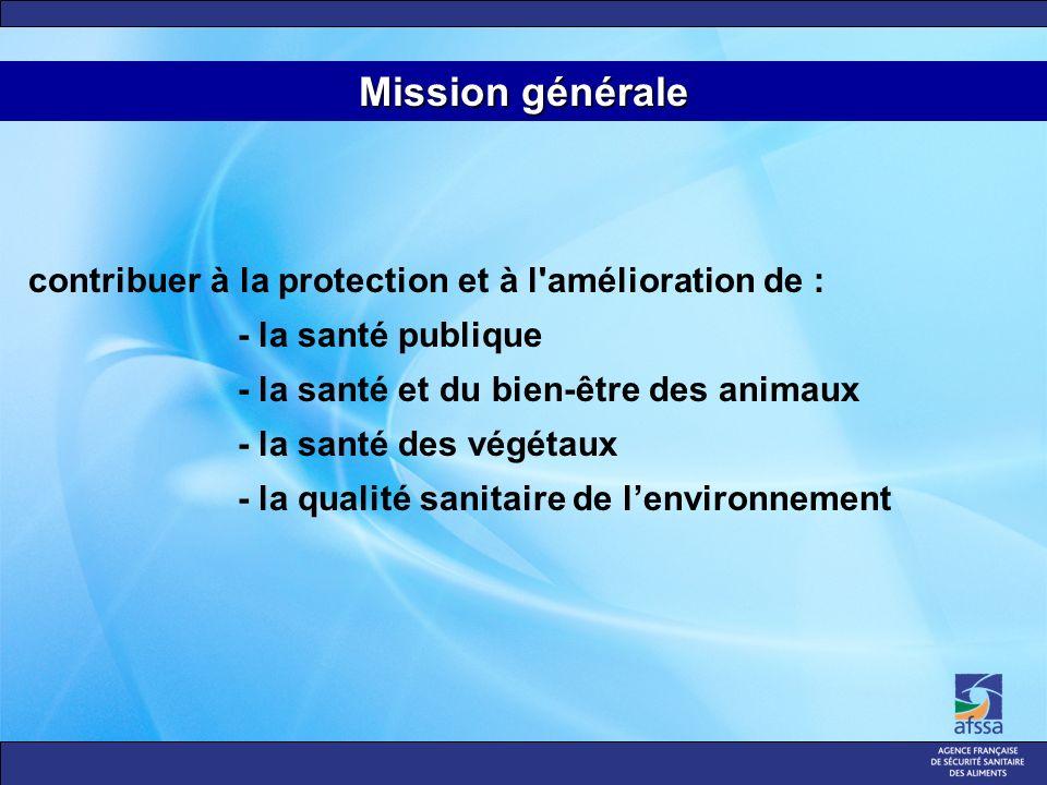 contribuer à la protection et à l amélioration de : - la santé publique - la santé et du bien-être des animaux - la santé des végétaux - la qualité sanitaire de lenvironnement Mission générale