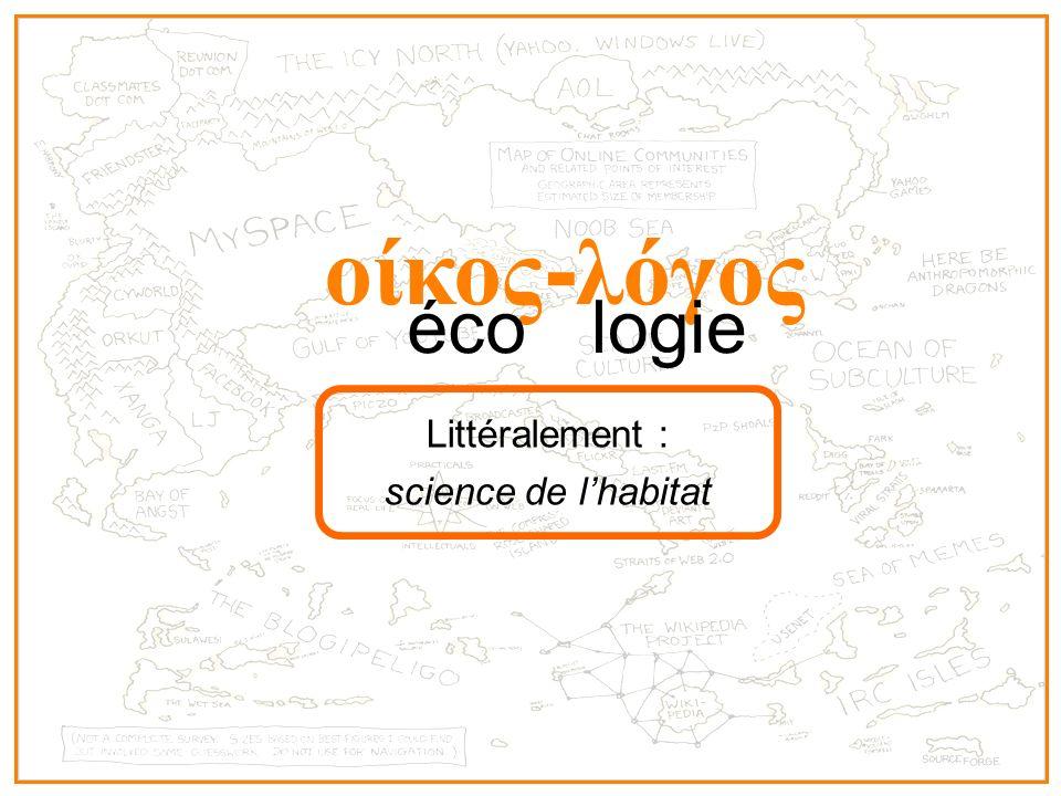 οίκος - λόγος écologie Littéralement : science de lhabitat