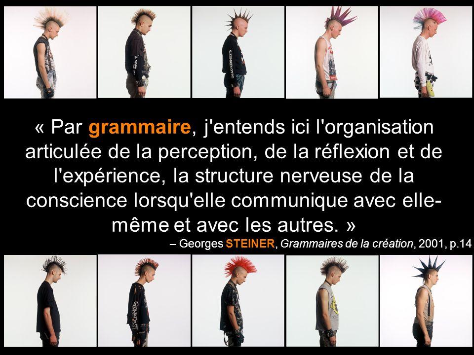 « Par grammaire, j'entends ici l'organisation articulée de la perception, de la réflexion et de l'expérience, la structure nerveuse de la conscience l