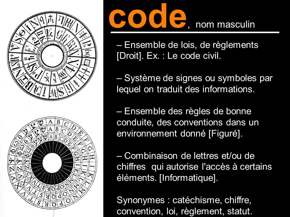 code, nom masculin – Ensemble de lois, de règlements [Droit]. Ex. : Le code civil. – Système de signes ou symboles par lequel on traduit des informati