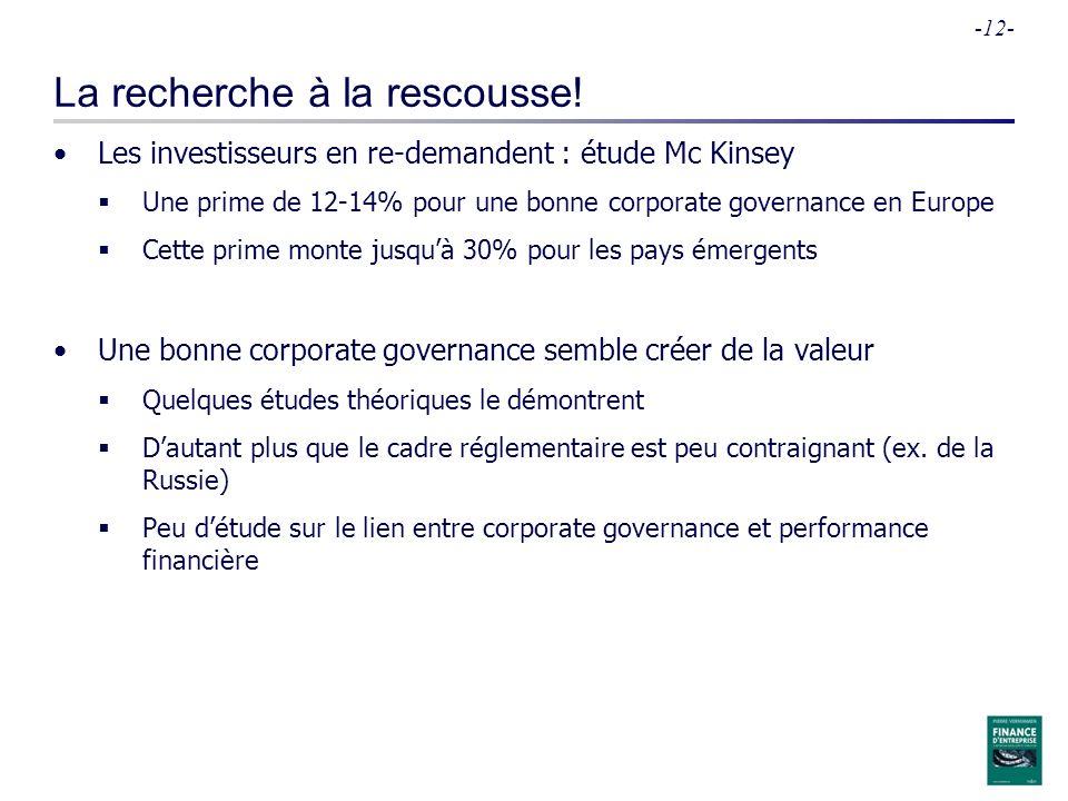 -12- La recherche à la rescousse! Les investisseurs en re-demandent : étude Mc Kinsey Une prime de 12-14% pour une bonne corporate governance en Europ