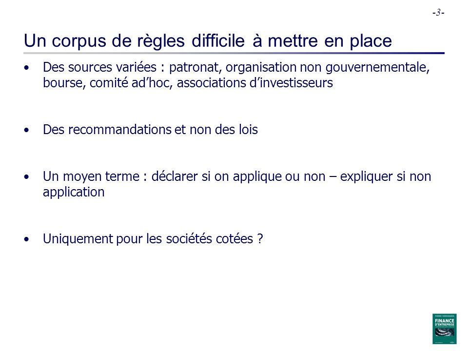 -3- Un corpus de règles difficile à mettre en place Des sources variées : patronat, organisation non gouvernementale, bourse, comité adhoc, associatio