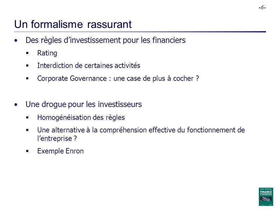 -6- Un formalisme rassurant Des règles dinvestissement pour les financiers Rating Interdiction de certaines activités Corporate Governance : une case de plus à cocher .