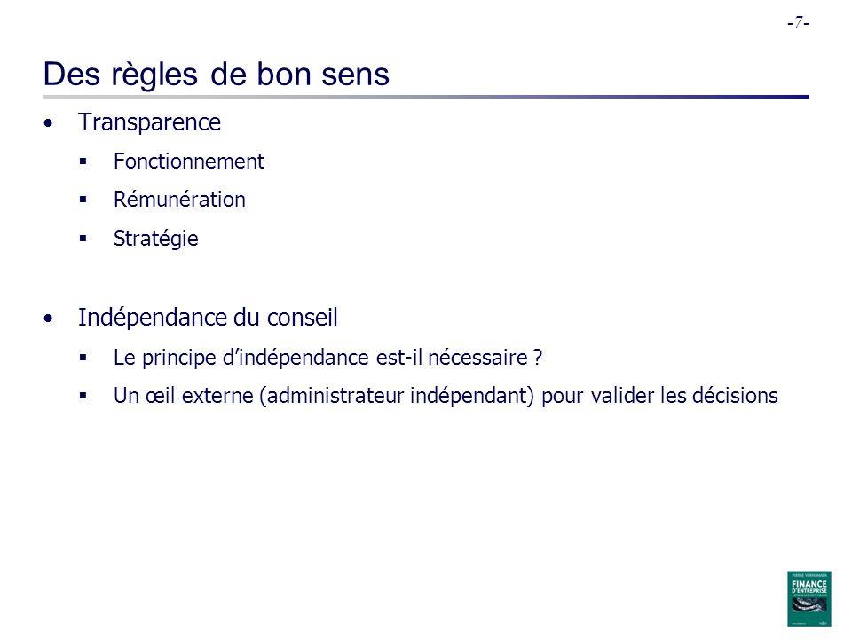 -7- Des règles de bon sens Transparence Fonctionnement Rémunération Stratégie Indépendance du conseil Le principe dindépendance est-il nécessaire ? Un