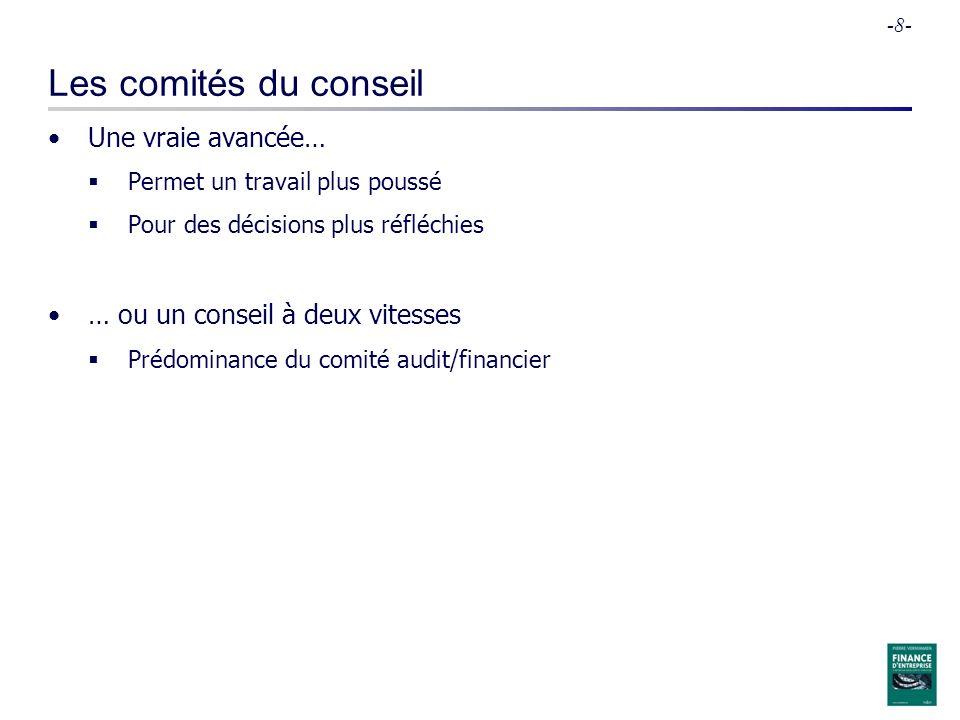 -8- Les comités du conseil Une vraie avancée… Permet un travail plus poussé Pour des décisions plus réfléchies … ou un conseil à deux vitesses Prédomi