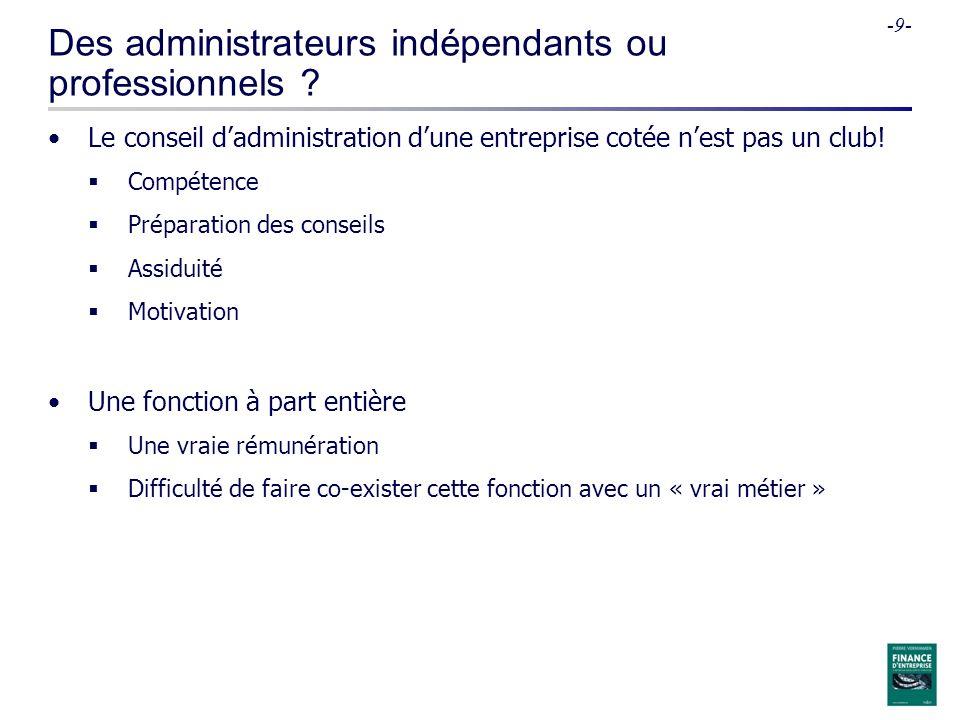 -9- Des administrateurs indépendants ou professionnels .