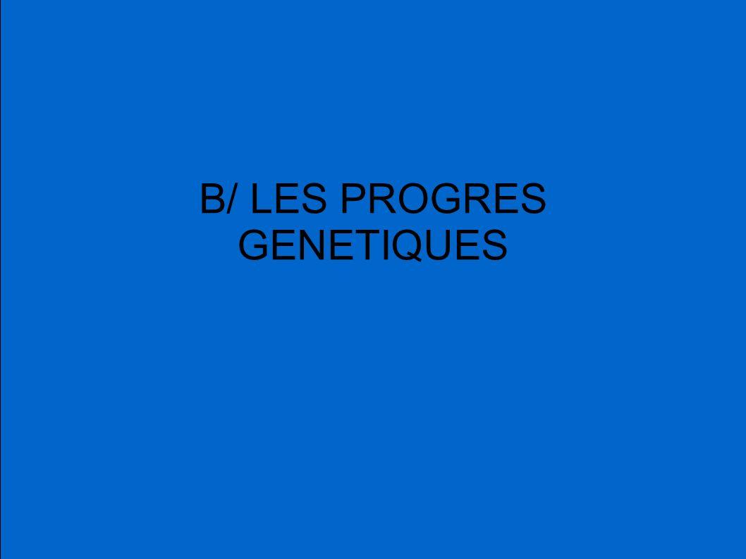 B/ LES PROGRES GENETIQUES