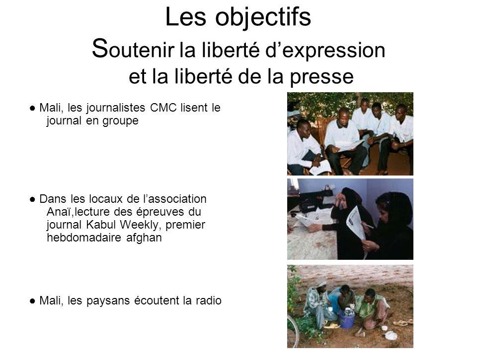 Les objectifs S outenir la liberté dexpression et la liberté de la presse Mali, les journalistes CMC lisent le journal en groupe Dans les locaux de lassociation Anaï,lecture des épreuves du journal Kabul Weekly, premier hebdomadaire afghan Mali, les paysans écoutent la radio