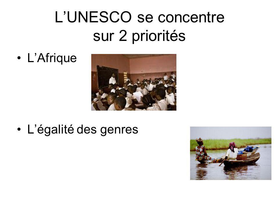 LUNESCO se concentre sur 2 priorités LAfrique Légalité des genres