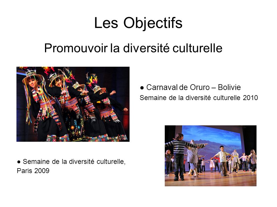 Les Objectifs Promouvoir la diversité culturelle Carnaval de Oruro – Bolivie Semaine de la diversité culturelle 2010 Semaine de la diversité culturelle, Paris 2009