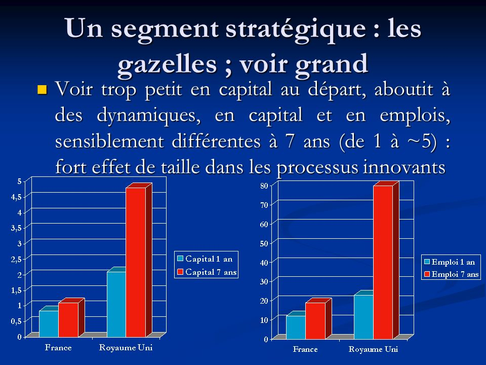 Un segment stratégique : les gazelles ; voir grand Voir trop petit en capital au départ, aboutit à des dynamiques, en capital et en emplois, sensiblement différentes à 7 ans (de 1 à ~5) : fort effet de taille dans les processus innovants Voir trop petit en capital au départ, aboutit à des dynamiques, en capital et en emplois, sensiblement différentes à 7 ans (de 1 à ~5) : fort effet de taille dans les processus innovants