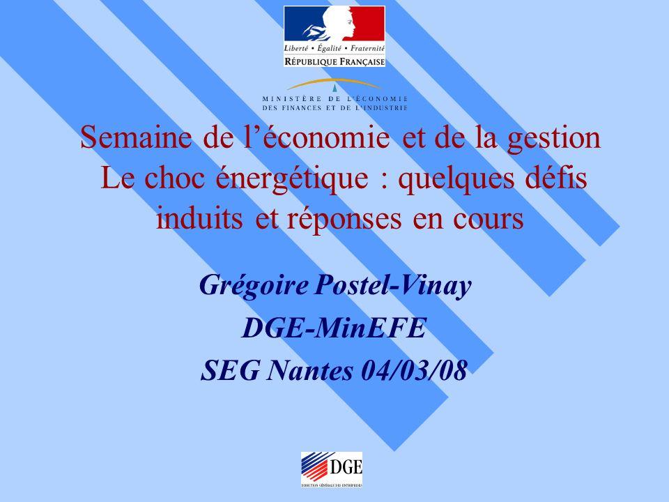 Semaine de léconomie et de la gestion Le choc énergétique : quelques défis induits et réponses en cours Grégoire Postel-Vinay DGE-MinEFE SEG Nantes 04