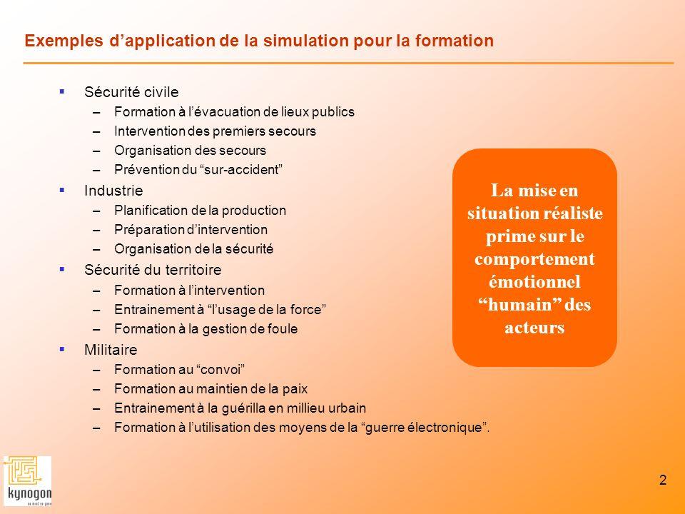2 Exemples dapplication de la simulation pour la formation Sécurité civile –Formation à lévacuation de lieux publics –Intervention des premiers secour