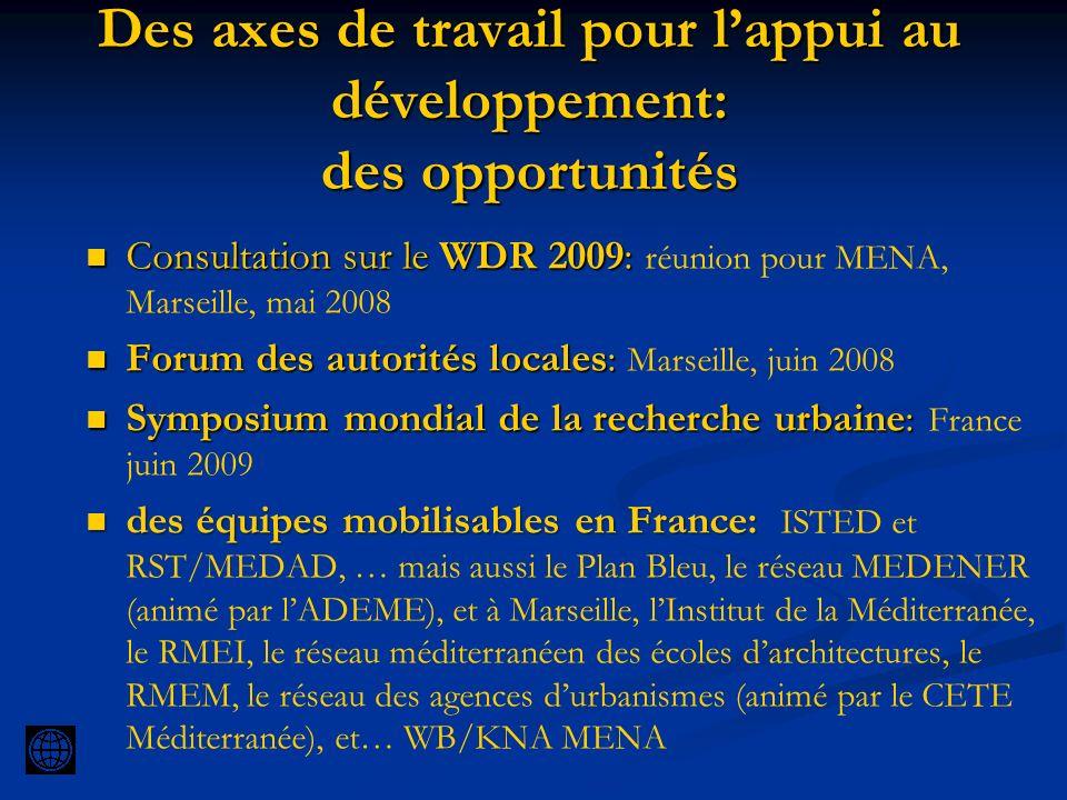 Des axes de travail pour lappui au développement: des opportunités Consultation sur le WDR 2009: Consultation sur le WDR 2009: réunion pour MENA, Mars