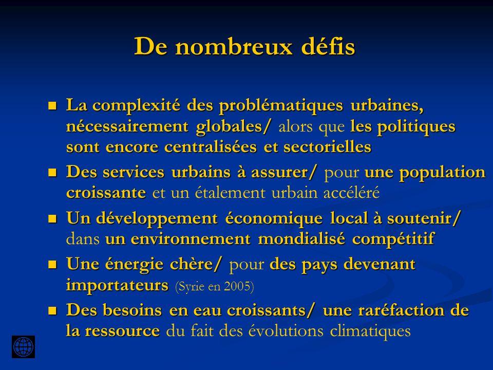 De nombreux défis La complexité des problématiques urbaines, nécessairement globales/ les politiques sont encore centralisées et sectorielles La compl