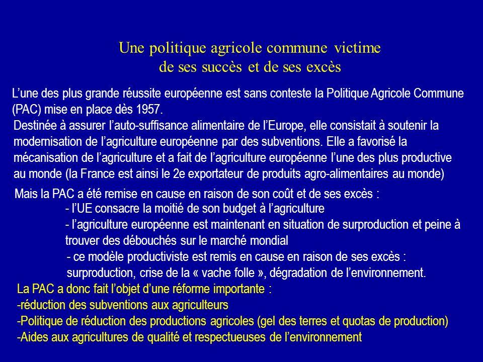 Une politique agricole commune victime de ses succès et de ses excès Lune des plus grande réussite européenne est sans conteste la Politique Agricole Commune (PAC) mise en place dès 1957.