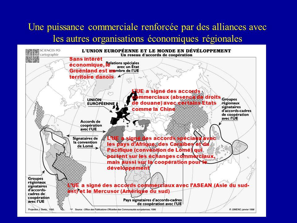 Une puissance commerciale renforcée par des alliances avec les autres organisations économiques régionales Sans intérêt économique, le Groënland est un territoire danois LUE a signé des accords commerciaux avec lASEAN (Asie du sud- est) et le Mercusor (Amérique du sud) LUE a signé des accords commerciaux (absence de droits de douane) avec certains Etats comme la Chine LUE a signé des accords spéciaux avec les pays dAfrique, des Caraïbes et du Pacifique (convention de Lomé) qui portent sur les échanges commerciaux, mais aussi sur la coopération pour le développement