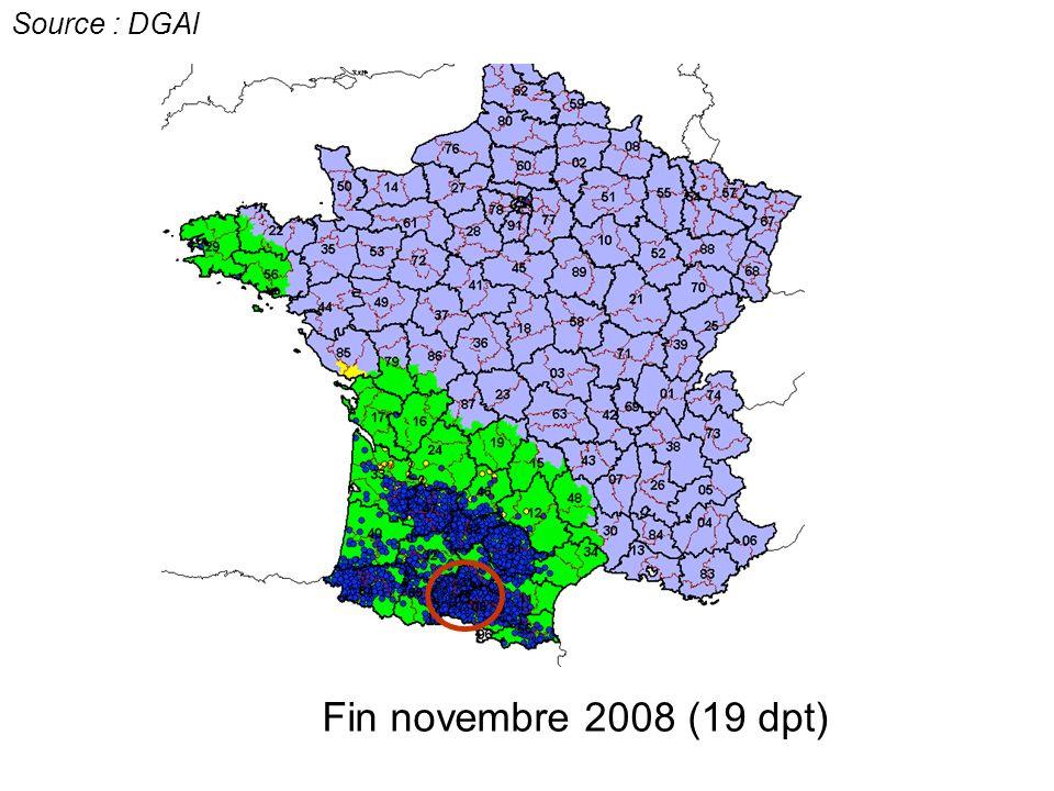 Fin novembre 2008 (19 dpt) Source : DGAl c c