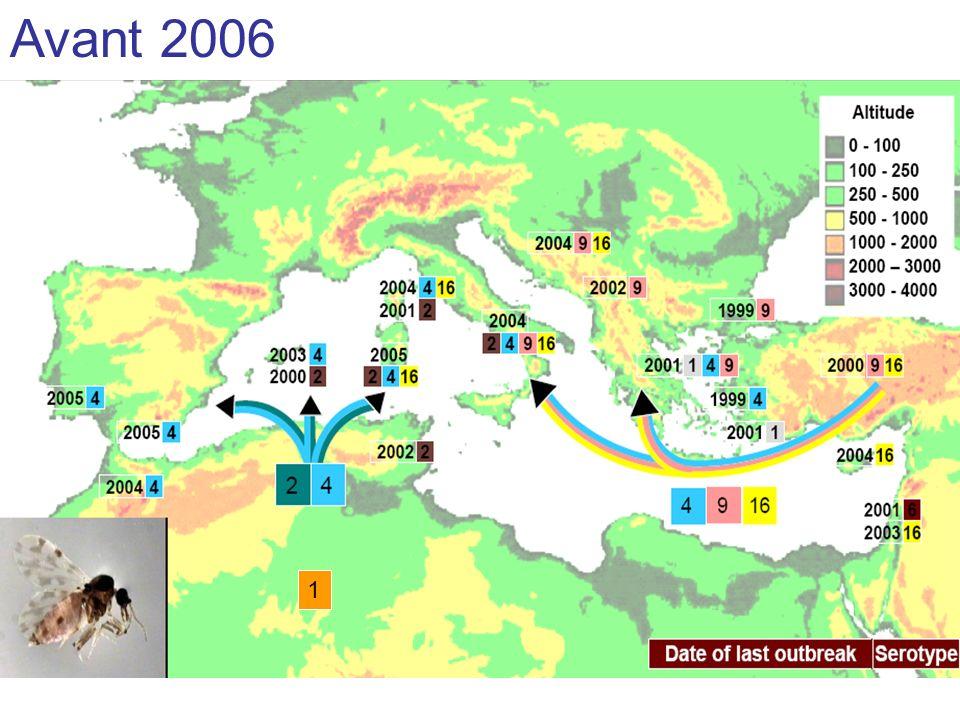 Sérotypes 4 et 2 circulaient depuis 2003 dans le bassin méditerranéen au Maroc, au sud de l' 1 Avant 2006