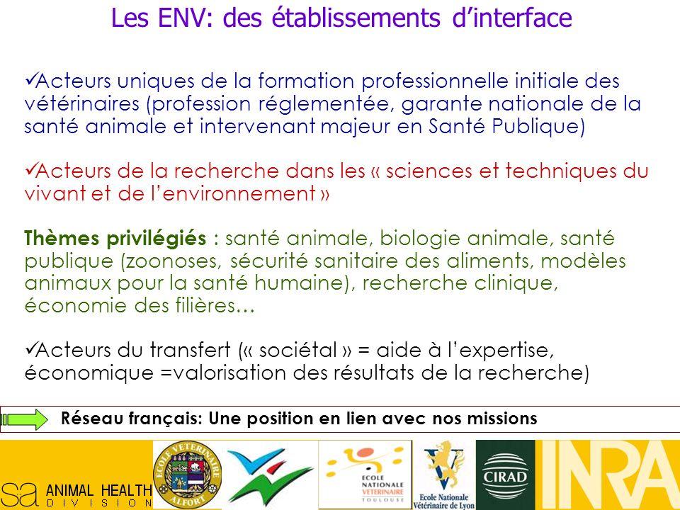 Réseau Français en Santé Animale, 29/10/07, 4 Acteurs uniques de la formation professionnelle initiale des vétérinaires (profession réglementée, garan