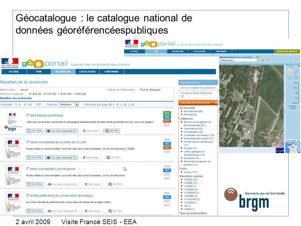 Géocatalogue : le catalogue national de données géoréférencéespubliques 2 avril 2009 Visite France SEIS - EEA