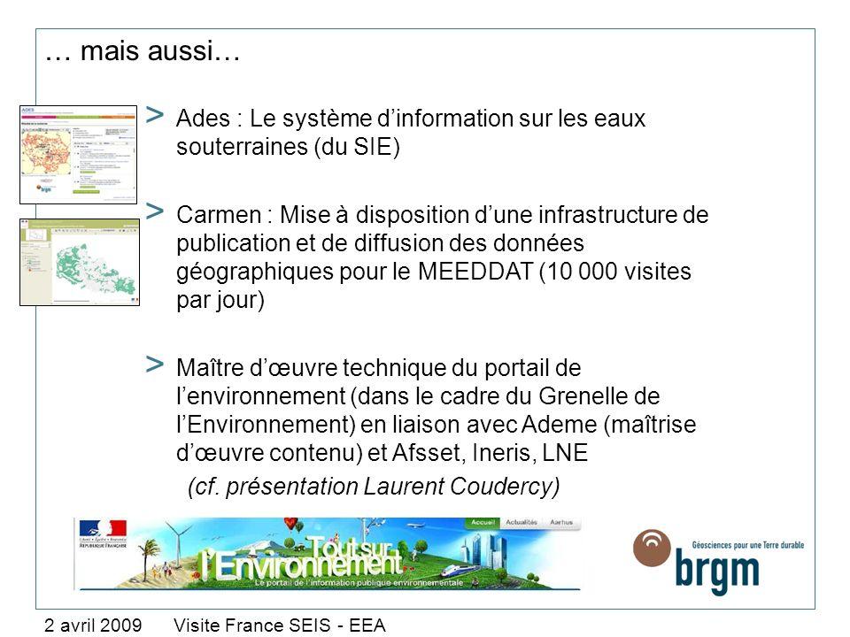 … mais aussi… 2 avril 2009 Visite France SEIS - EEA > Ades : Le système dinformation sur les eaux souterraines (du SIE) > Carmen : Mise à disposition
