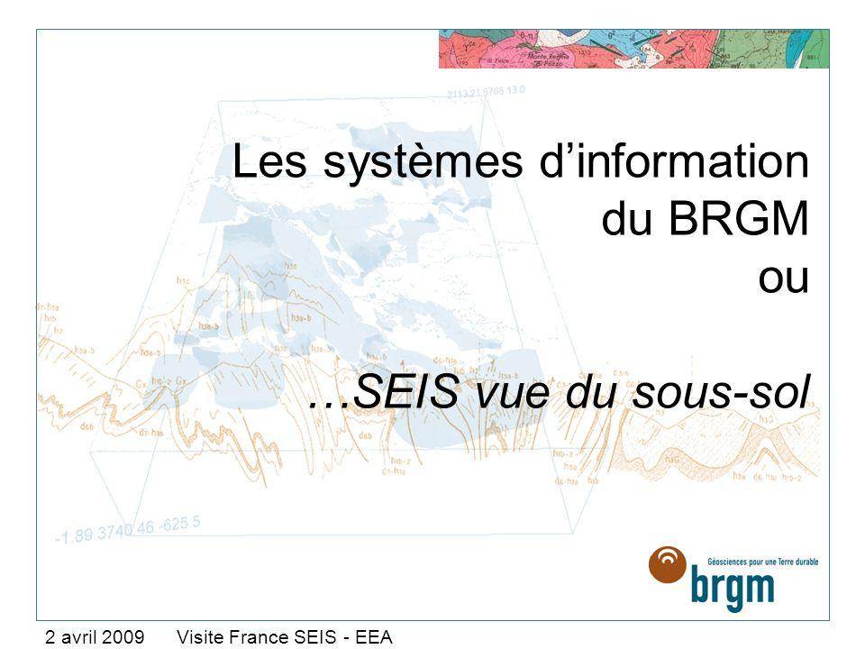 Les systèmes dinformation du BRGM ou …SEIS vue du sous-sol 2 avril 2009 Visite France SEIS - EEA