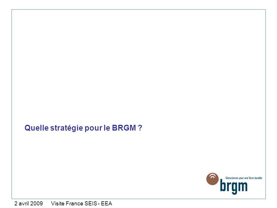 Quelle stratégie pour le BRGM ? 2 avril 2009 Visite France SEIS - EEA