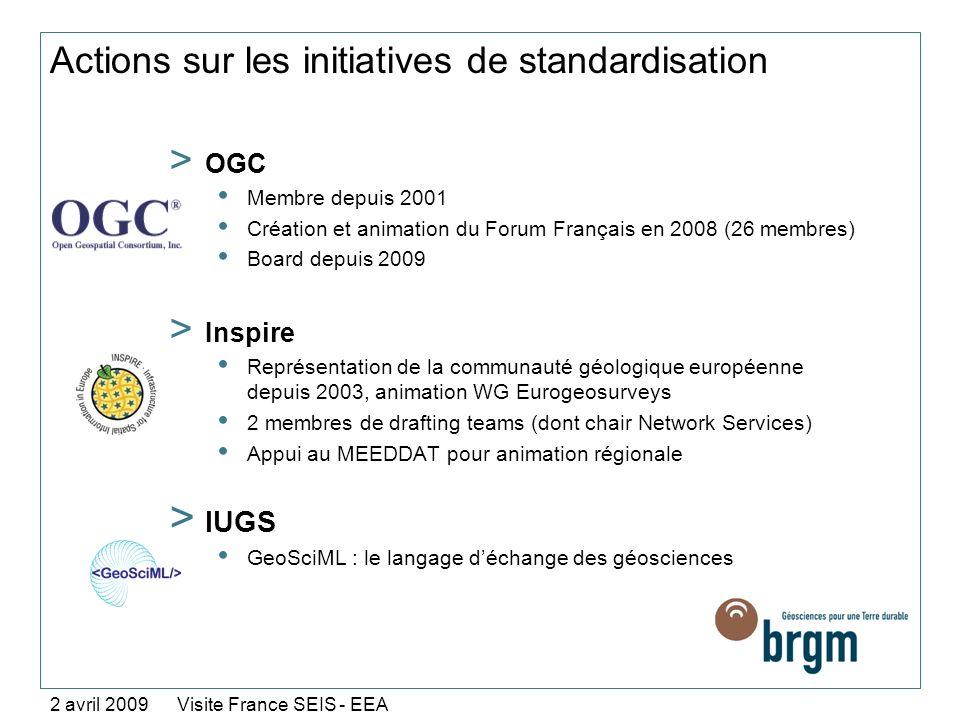 Actions sur les initiatives de standardisation > OGC Membre depuis 2001 Création et animation du Forum Français en 2008 (26 membres) Board depuis 2009