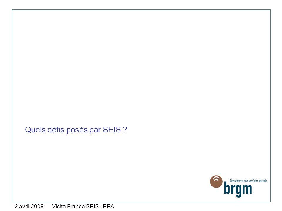 Quels défis posés par SEIS ? 2 avril 2009 Visite France SEIS - EEA