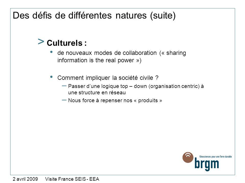 Des défis de différentes natures (suite) > Culturels : de nouveaux modes de collaboration (« sharing information is the real power ») Comment implique