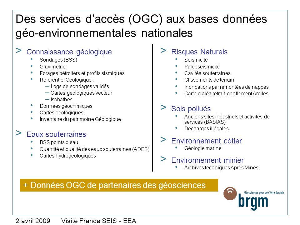Des services daccès (OGC) aux bases données géo-environnementales nationales 2 avril 2009 Visite France SEIS - EEA > Connaissance géologique Sondages