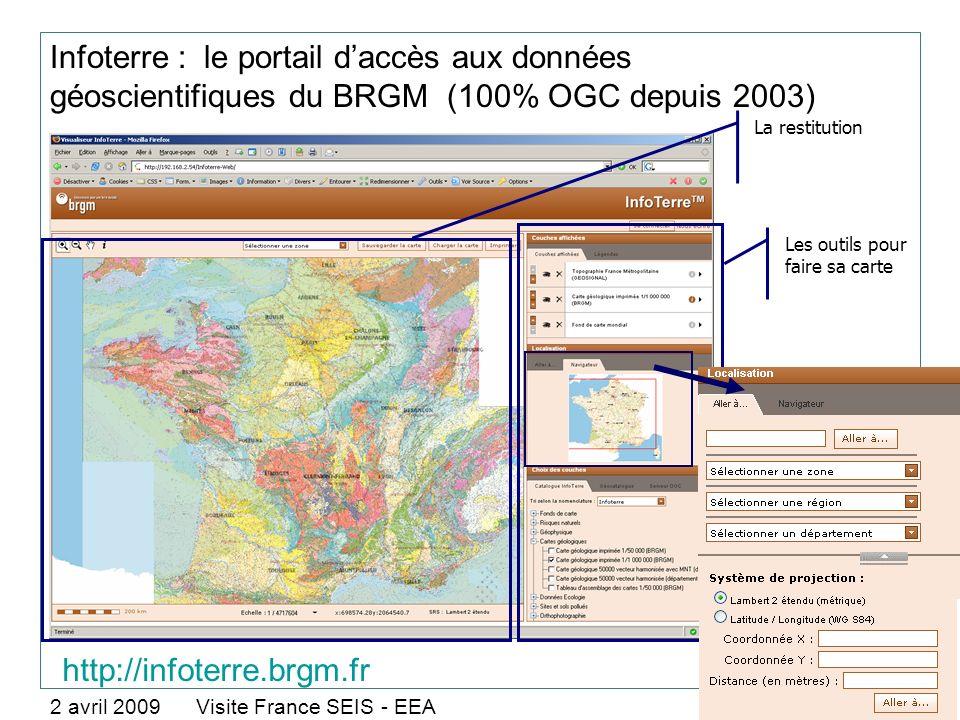 Infoterre : le portail daccès aux données géoscientifiques du BRGM (100% OGC depuis 2003) 2 avril 2009 Visite France SEIS - EEA > 9 Les outils pour fa