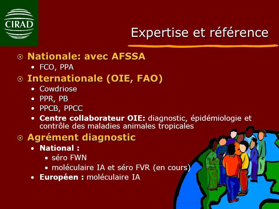 Expertise et référence Nationale: avec AFSSA Nationale: avec AFSSA FCO, PPAFCO, PPA Internationale (OIE, FAO) Internationale (OIE, FAO) CowdrioseCowdr