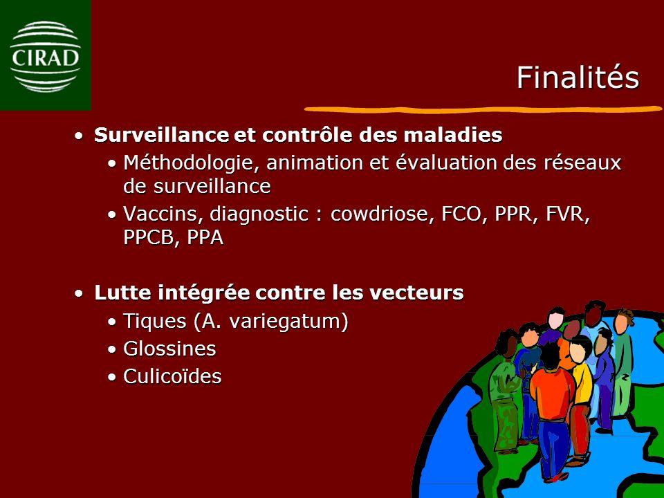 Finalités Surveillance et contrôle des maladiesSurveillance et contrôle des maladies Méthodologie, animation et évaluation des réseaux de surveillance