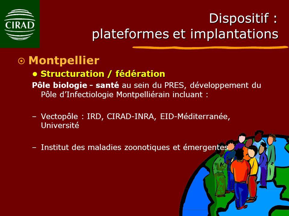 Dispositif : plateformes et implantations Montpellier Structuration / fédération Structuration / fédération Pôle biologie - santé au sein du PRES, dév